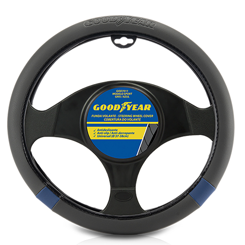 STEERING WHEEL COVER GRAY / BLUE